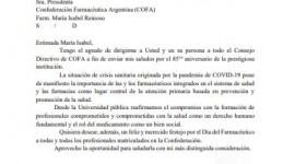 Mensaje del Decano de la Facultad de Ciencias Exactas de la UNLP en el 85° Aniversario de la COFA y el Día del Farmacéutico